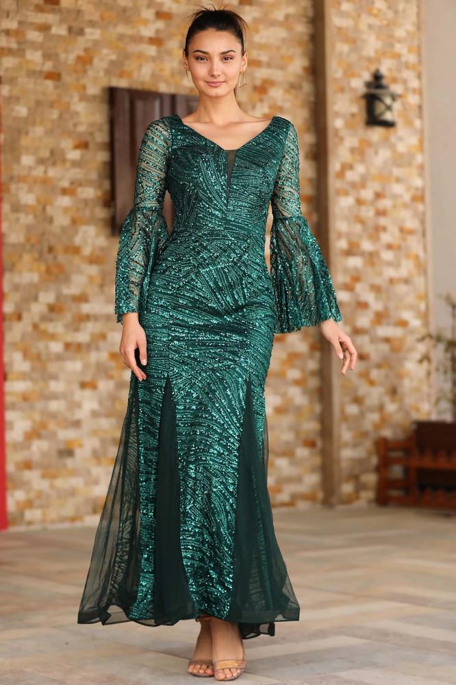 فستان سهرة أخضر بترتر نسائي