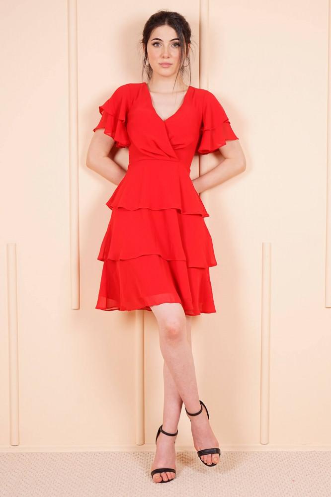 فستان قصير شيفون أحمر مكشكش نسائي