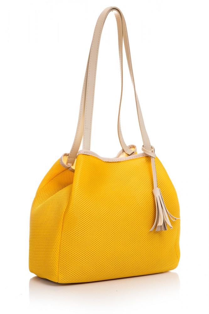 حقيبة أبيض أصفر نسائية