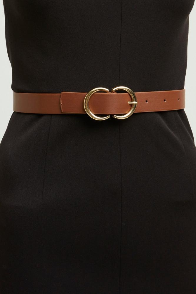 حزام بني بقفل ذهبي نسائي