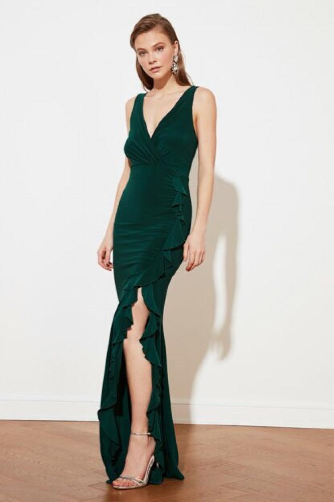 فستان سهرة أخضر زمردي مكشكش نسائي