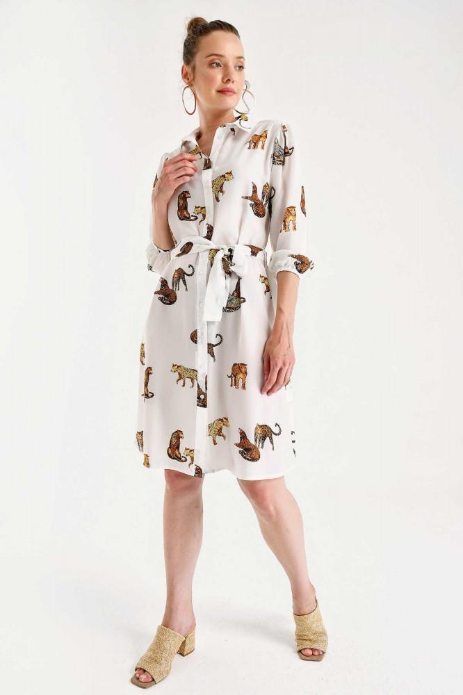 فستان قصير أبيض بطبعة نمر نسائي