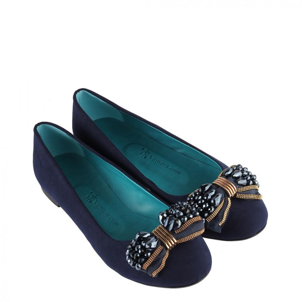 حذاء فلات كحلي بقفل نسائي