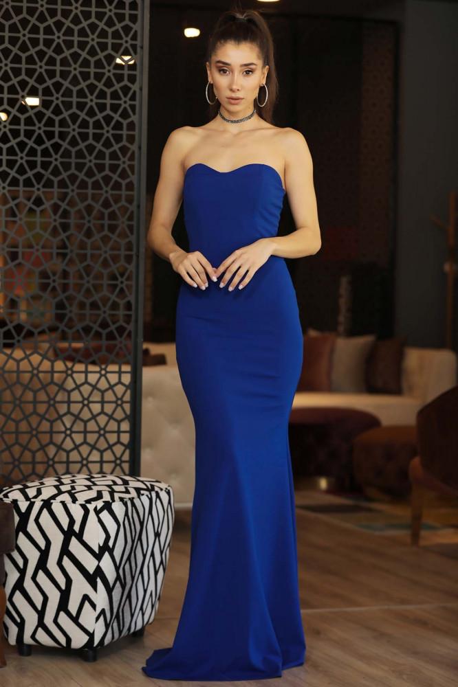 فستان سهرة طويل أزرق فاتح موديل سمكة نسائي