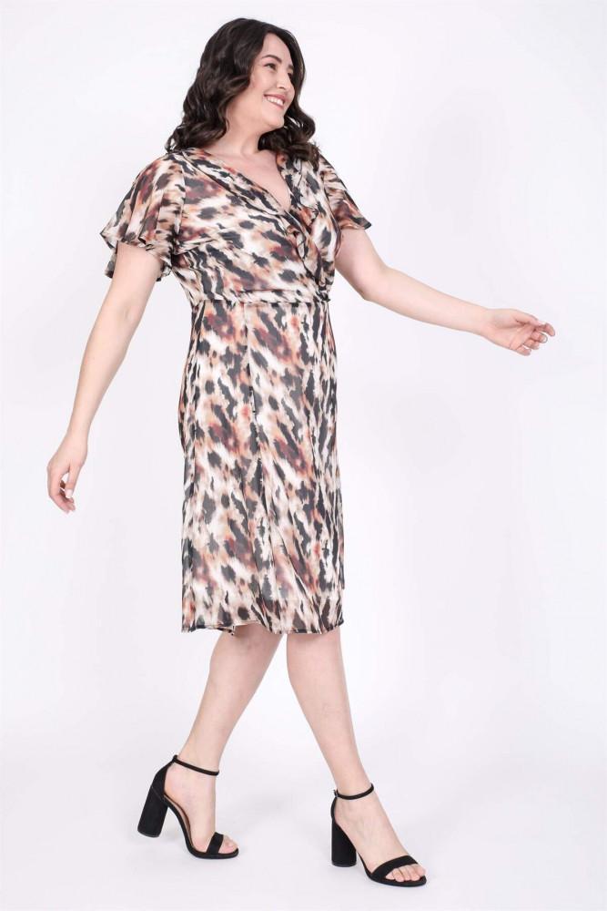 فستان شيفون بكروس من الخلف نسائي