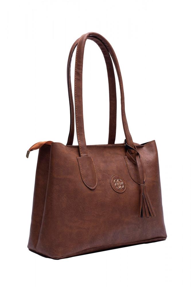 حقيبة يد بني مفصلة بشراشيب نسائية