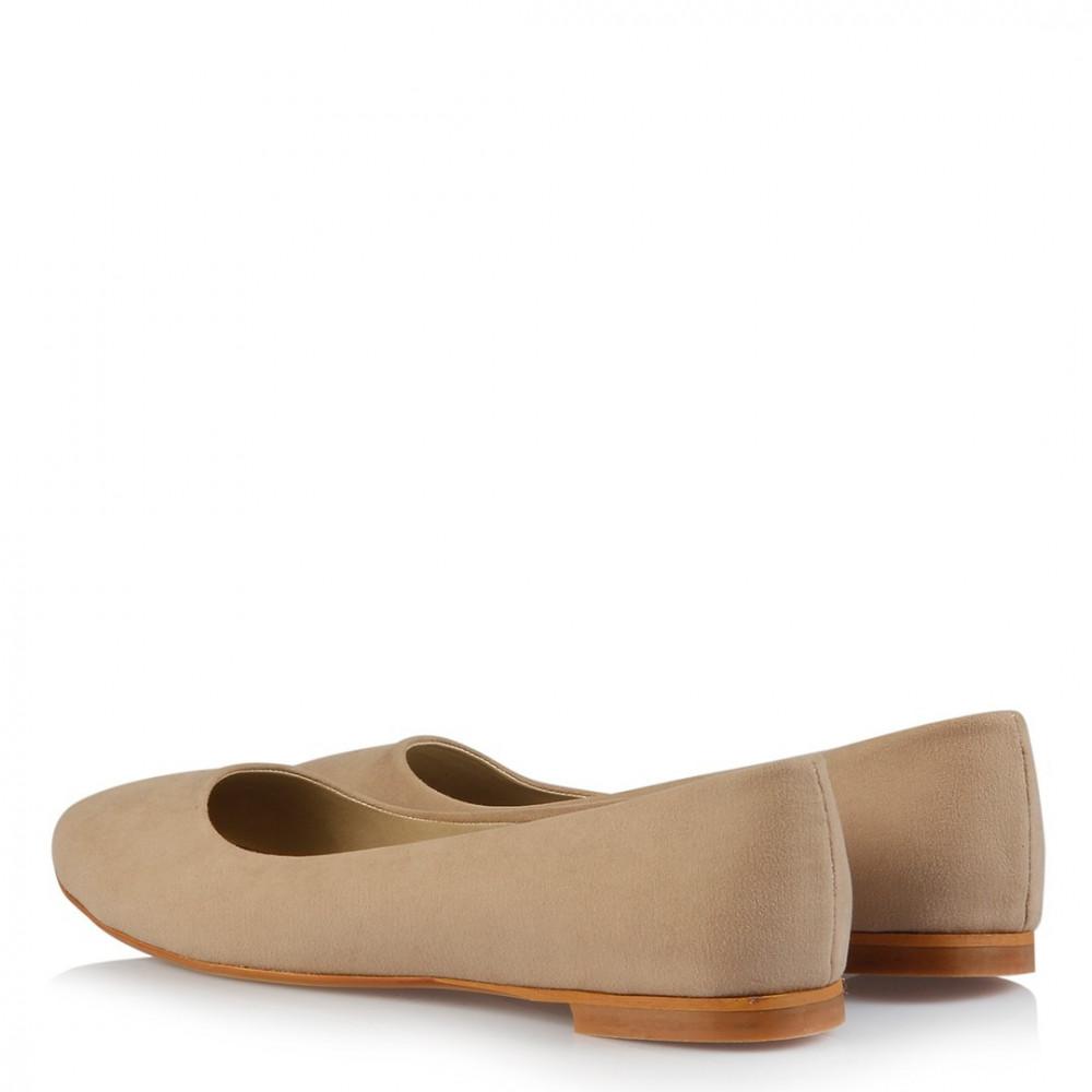 حذاء فلات جلد سويدي بيج غامق نسائي