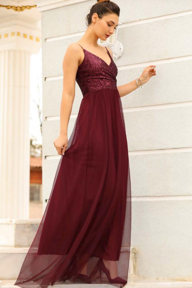 فستان سهرة عنابي بجزء علوي ترتر نسائي
