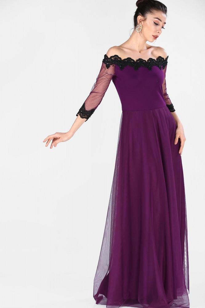 فستان سهرة بنفسجي مفصل بتول ورقبة بدون أكتاف نسائي