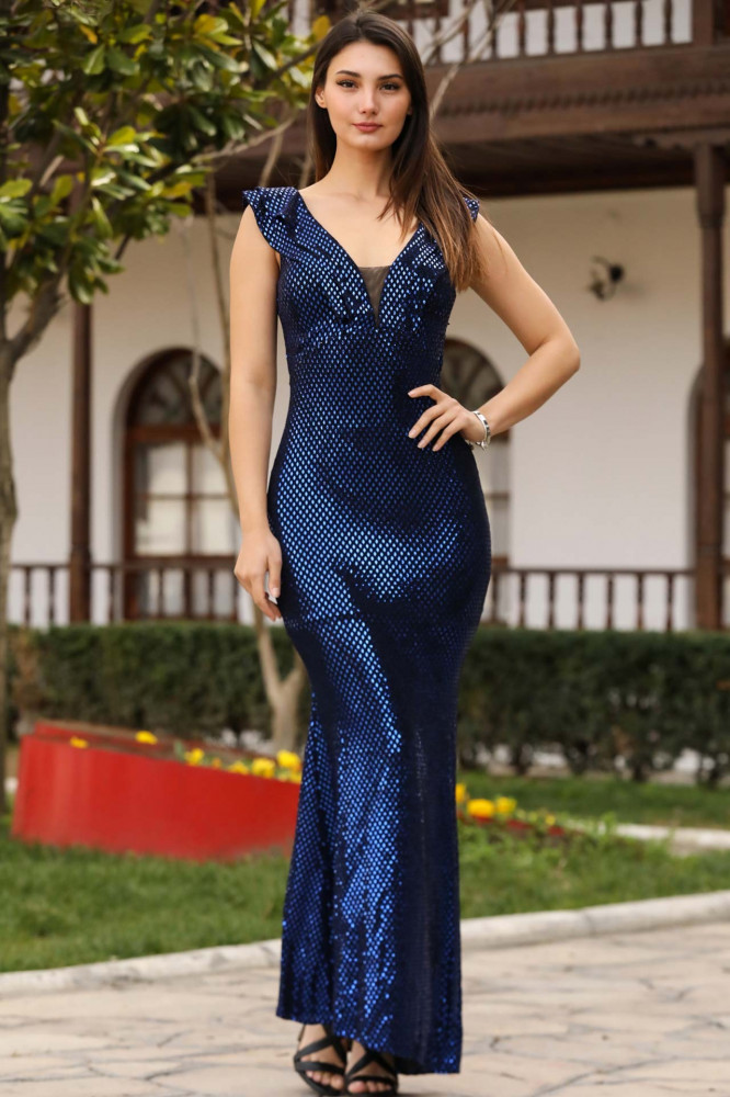 فستان سهرة أزرق بترتر موديل سمكة نسائي