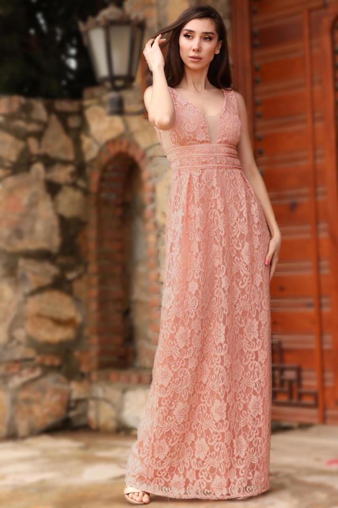 فستان سهرة وردي فاتح طويل مزخرف نسائي