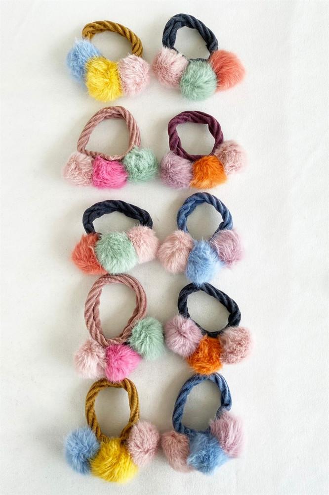 مجموعة توكة شعر مرنة متعددة الألوان بشكل كرات - 10 قطع
