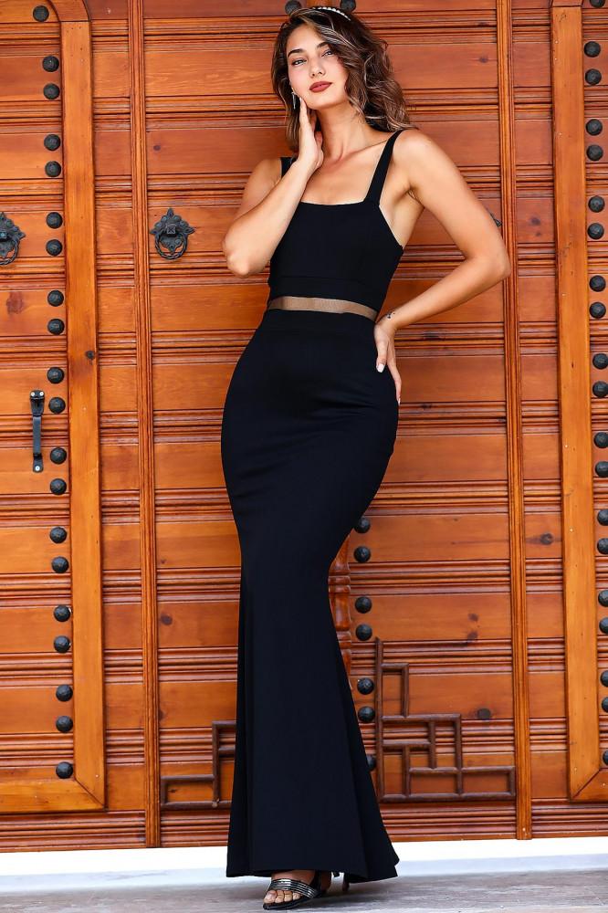 فستان سهرة أسود موديل سمكة نسائي