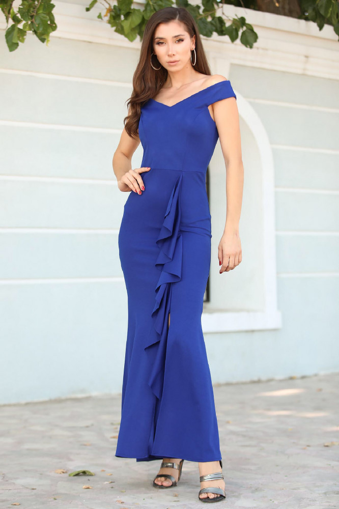 فستان سهرة ازرق فاتح مفصل مفتوح