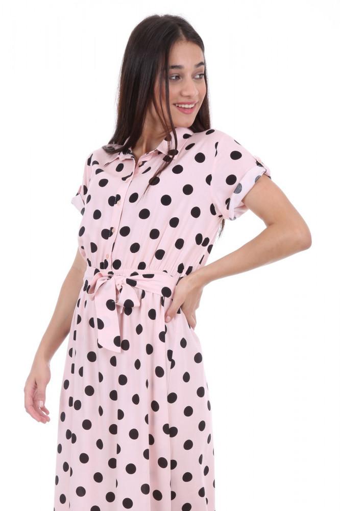 فستان بأكمام قصيرة وحزام نسائي