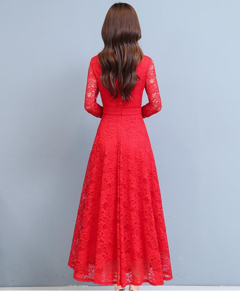فستان سهرة أحمر طويل من الدانتيل - متجر تواجد