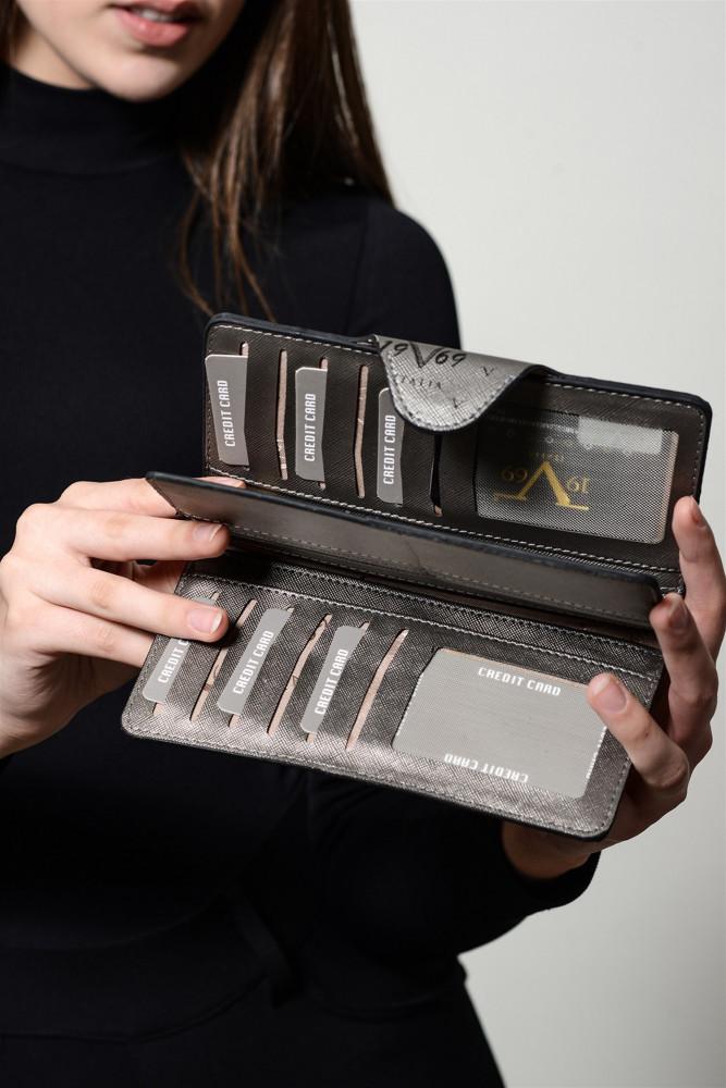 محفظة رمادي مزخرفة نسائية