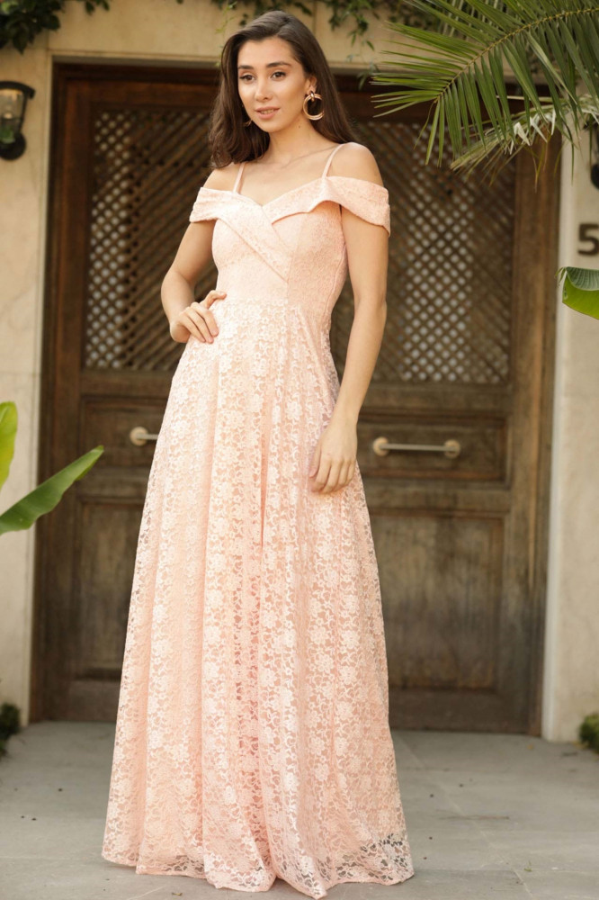 فستان سهرة دانتيل وردي فاتح نسائي