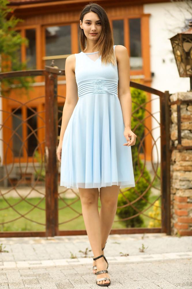 فستان أزرق لامع نسائي