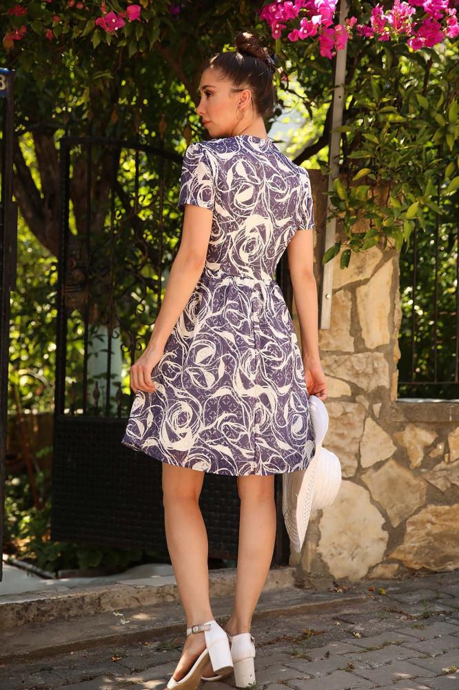 فستان قصير كحلي بأزرارنسائي