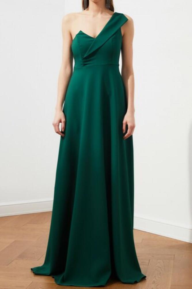 فستان سهرة أخضر زمردي مفصل  بياقة نسائي