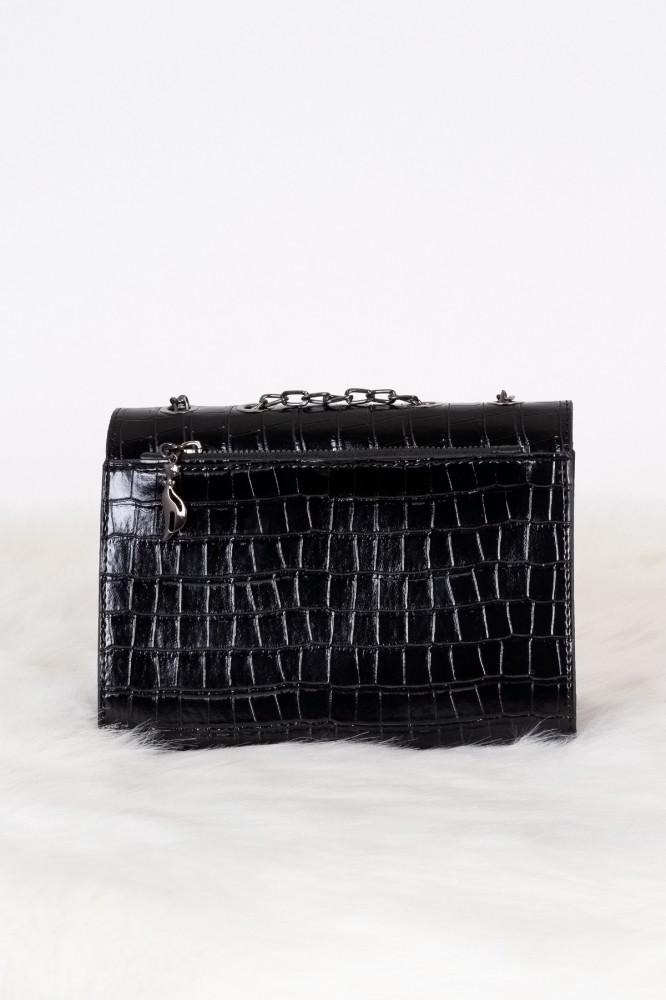 حقيبة كروس بودي سوداء مفصلة بسلسلة نسائية