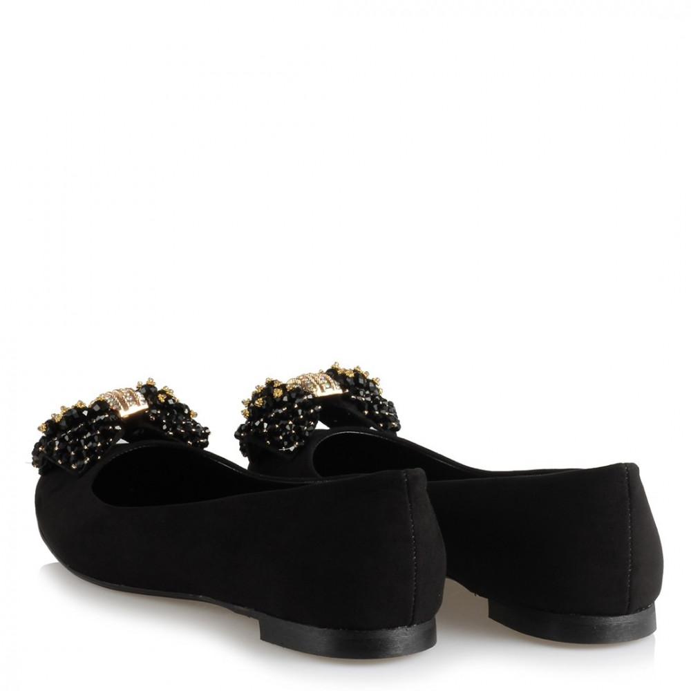 حذاء فلات أسود بقفل وفصوص نسائي