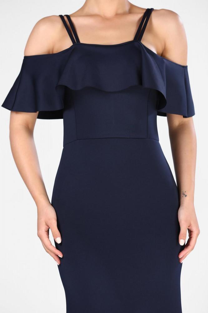 فستان سهرة كحلي موديل سمكة برقبة بيضاوية نسائي