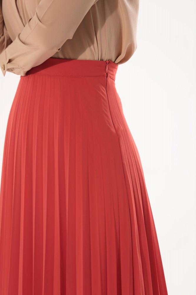 تنورة طويلة شيفون أحمر طوبي بطيات نسائية
