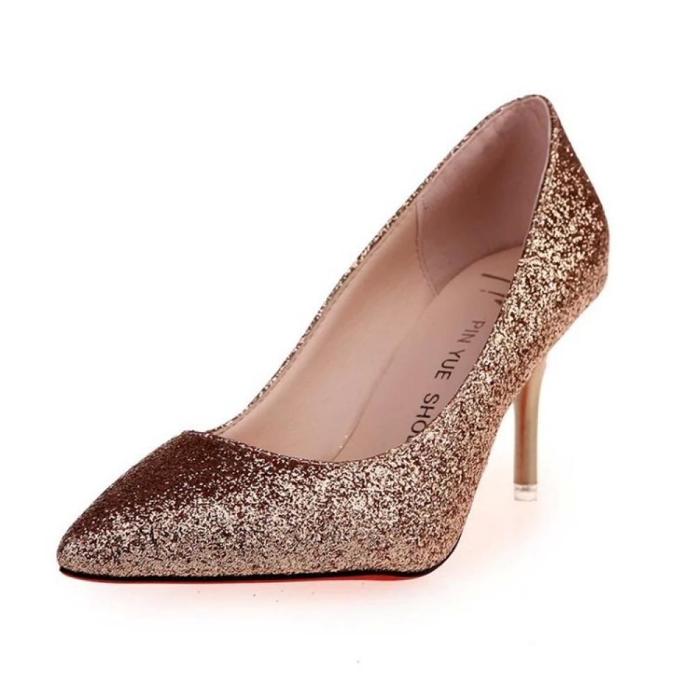 حذاء بكعب عالي ذهبي متوهج بألوان براقة - متجر تواجد