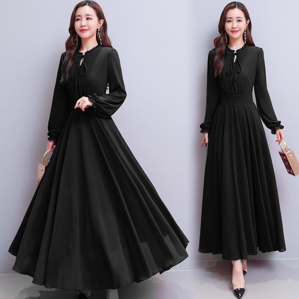 فستان أسود شيفون طويل - متجر تواجد