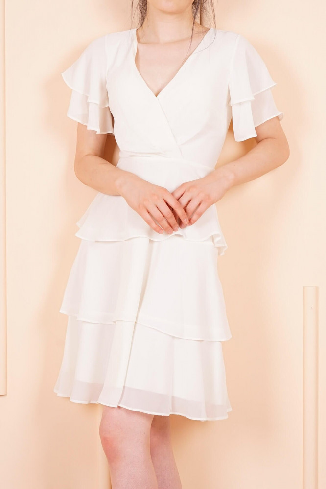 فستان قصير شيفون اكرو مكشكش نسائي