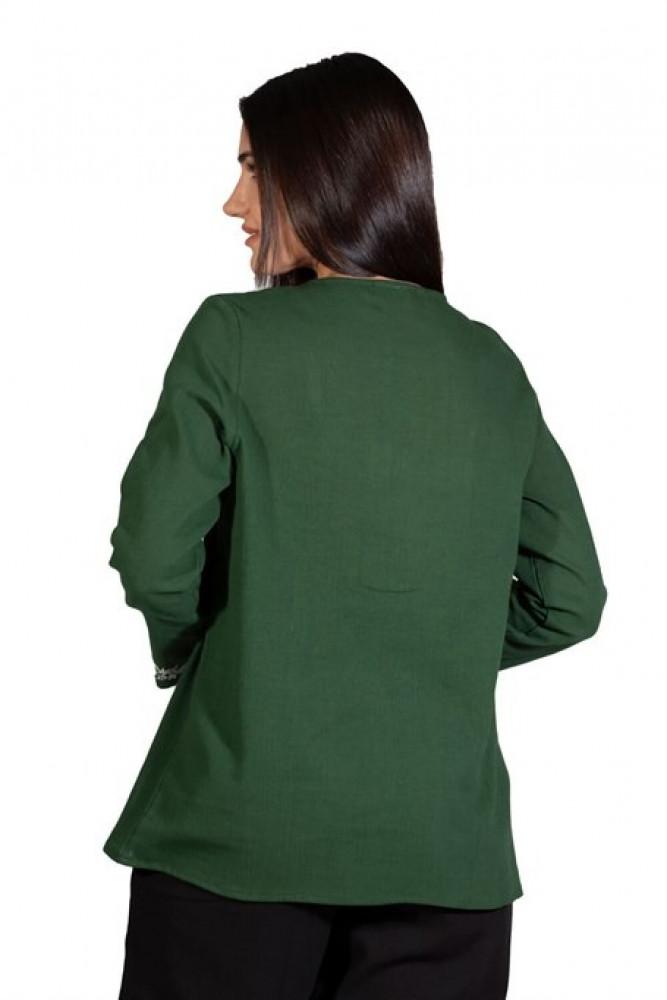بلوزة خضراء بأكمام طويلة نسائية