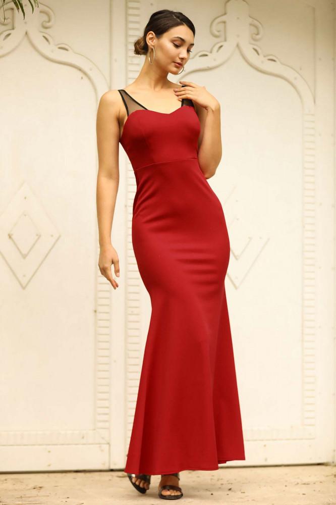 فستان سهرة أحمر مفصل بتول أسود موديل سمكة نسائي
