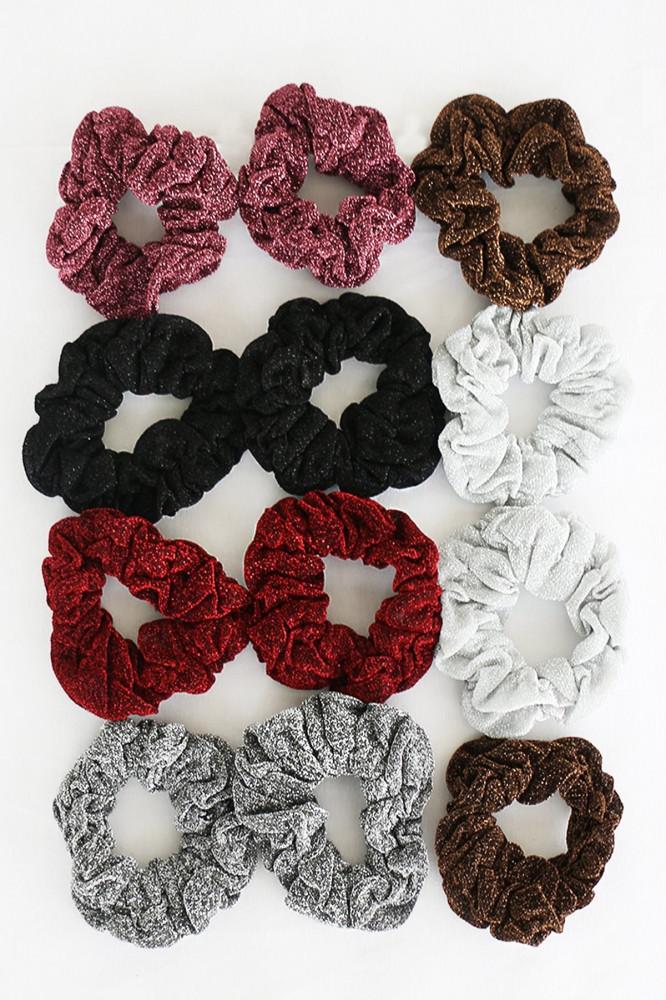 توكة شعر مرنة متعددة الألوان نسائية - 12 قطعة