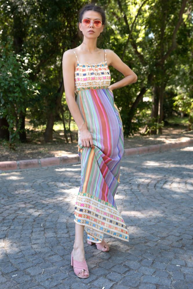 فستان شيفون بحمالات نسائي