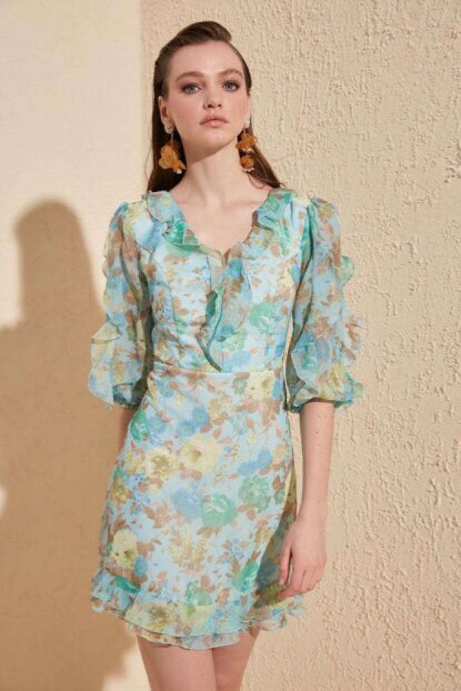فستان متعدد الألوان مفصل مكشكش نسائي