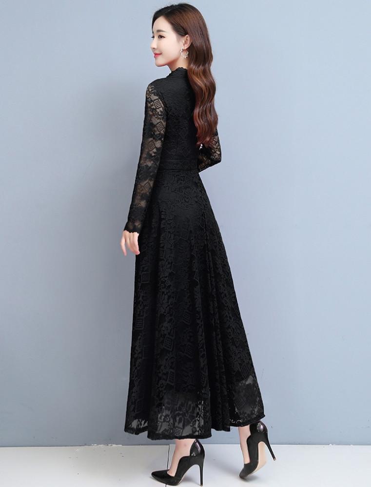 فستان سهرة أسود طويل من الدانتيل - متجر تواجد