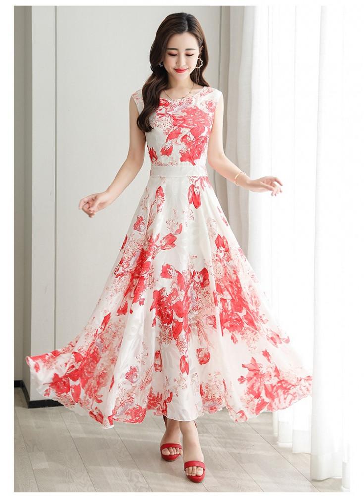 فستان أحمر طويل بدون أكمام - متجر تواجد