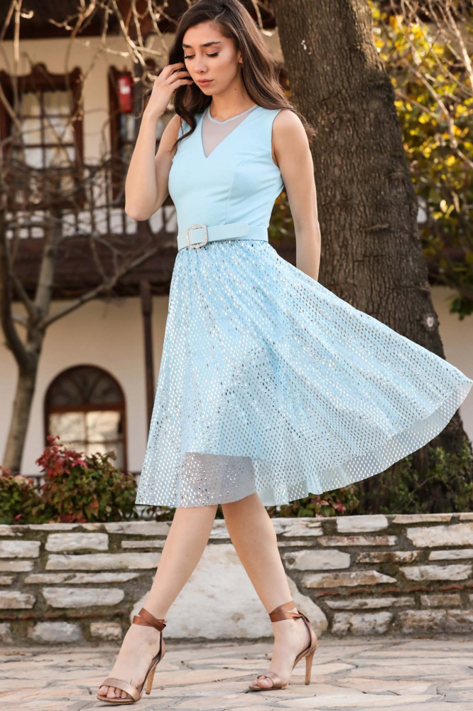 فستان سهرة أزرق بترتر و حزام نسائي