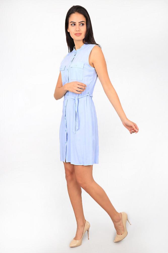 فستان بحزام وجيوب مزدوجة نسائي