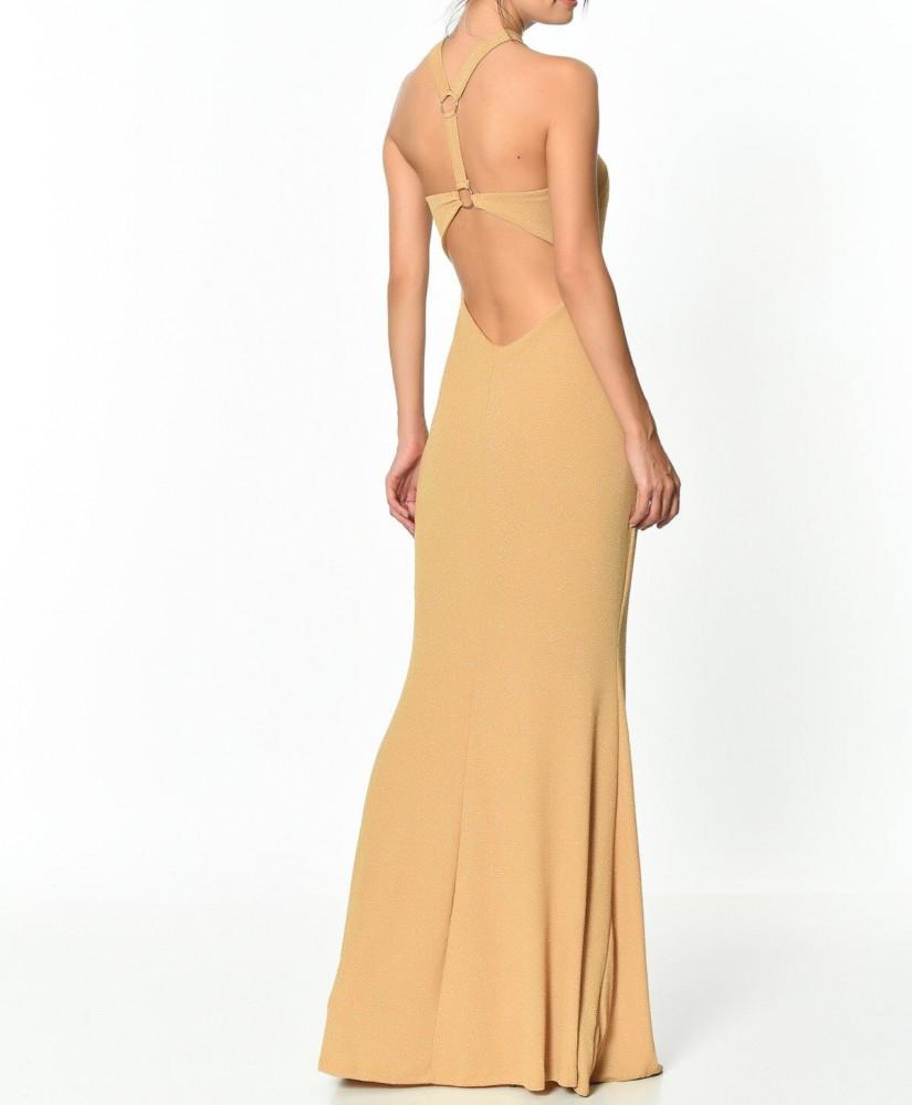 فستان سهرة طويل أصفر نسائي