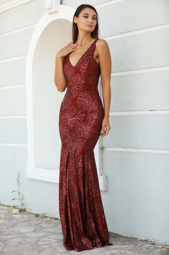 فستان سهرة عنابي طويل بترتر موديل سمكة مقاس كبير نسائي