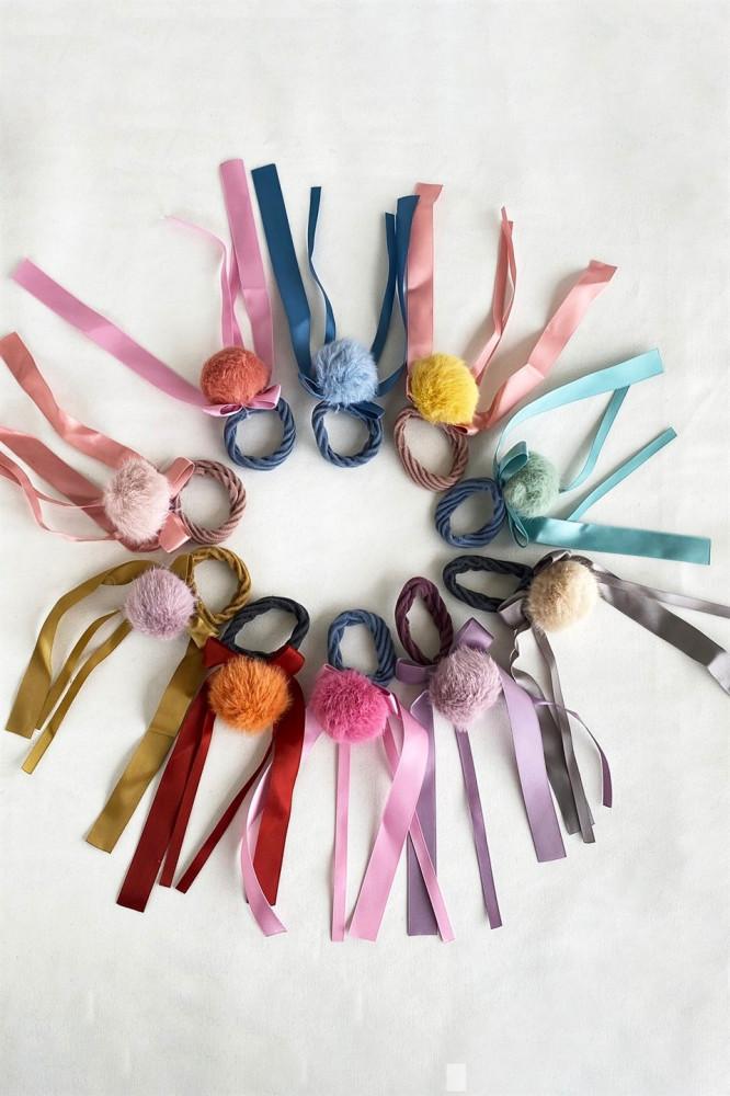 طقم توكة شعر مرنة بشكل شرائط متعددة الألوان- 10 قطع