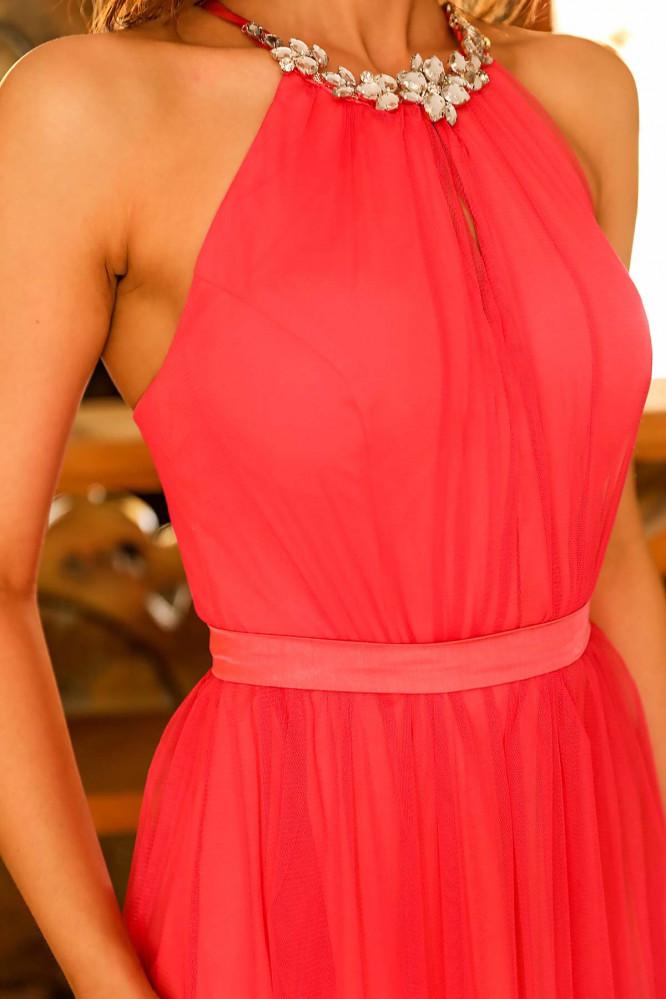 فستان سهرة طويل قرمزي تول بفصوص نسائي