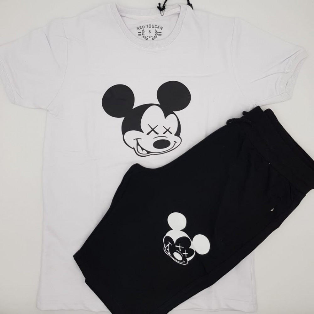 طقم شورت Mickey Mouse ابيض واسود