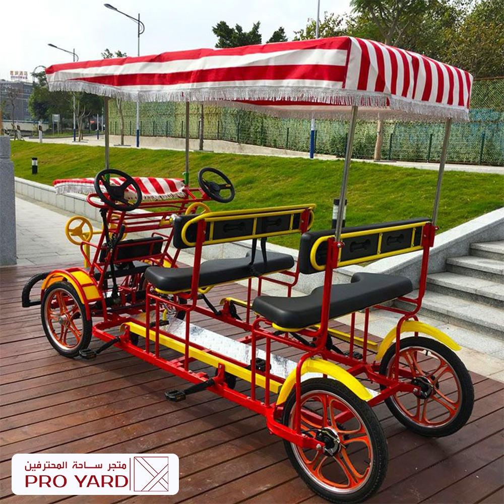 دراجة عائلية 6 راكب 4 كبار 2 صغار لون أحمر