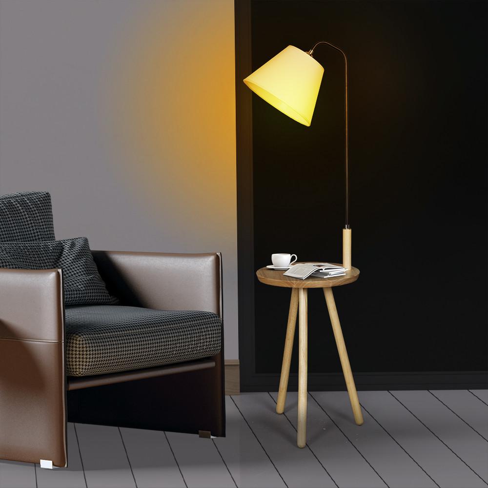 صور أباجورة انارة أرضية بطاولة وقاعدة خشبية موديل كيرف وغطاء من الكتان