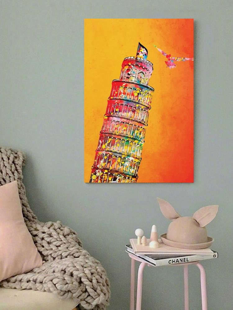 لوحة برج بيزا المائل خشب ام دي اف مقاس 40x60 سنتيمتر