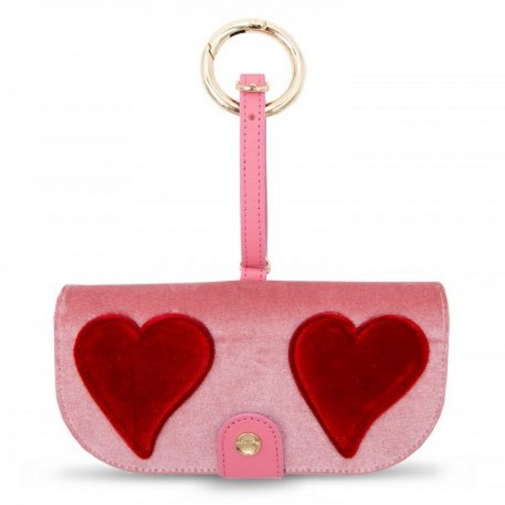 Iphoria Glasses Case Pink Velvet With Red Heart